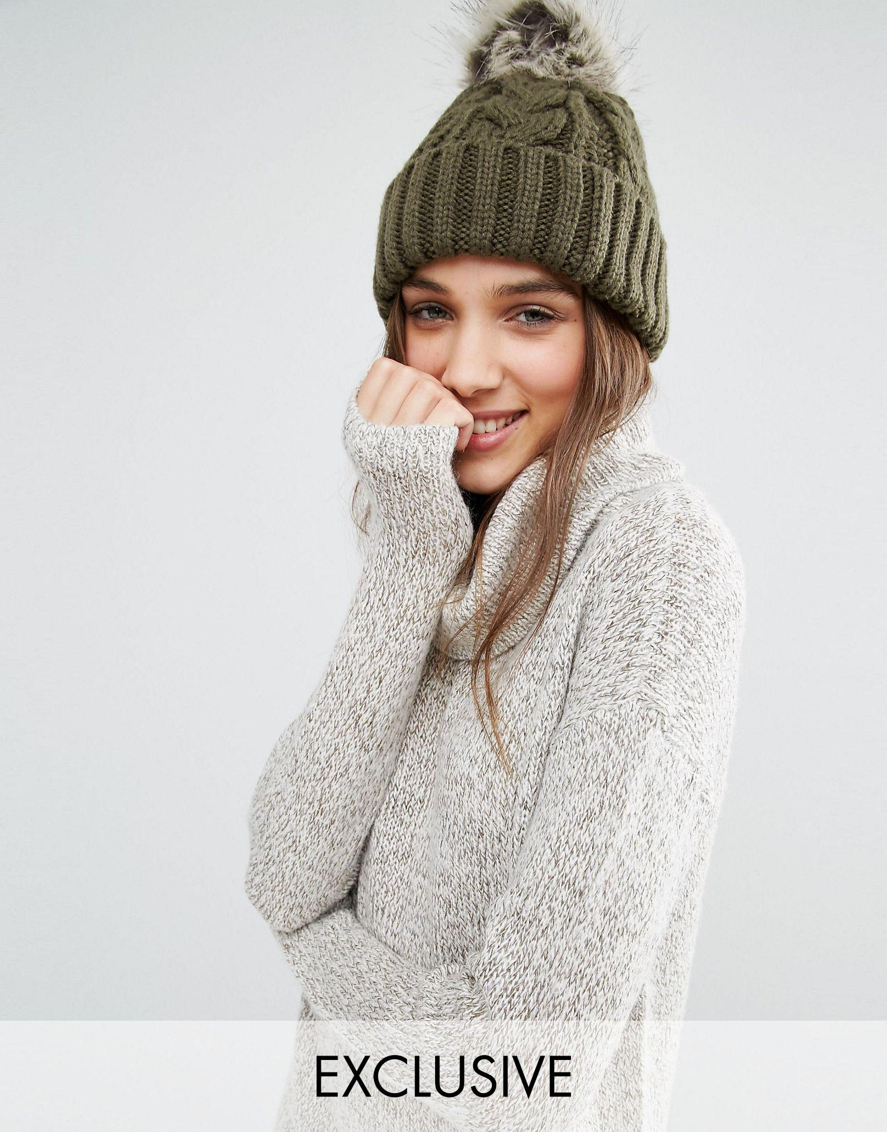 7f49b923e Stitch & Pieces Multicolor Titch & Pieces Knitted Faux Fur Pom Beanie