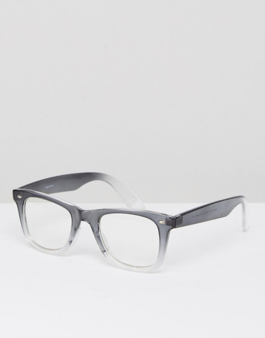 05e99286d32 Lyst - ASOS Square Glasses In Crystal Grey Fade With Clear Lens in ...