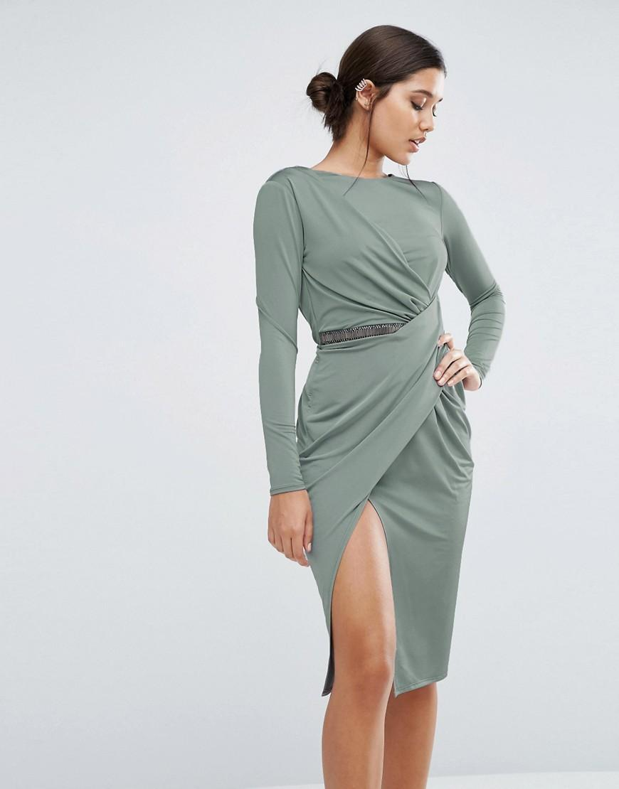 Lyst Asos Slinky Midi Wrap Trim With Long Sleeve In Gray