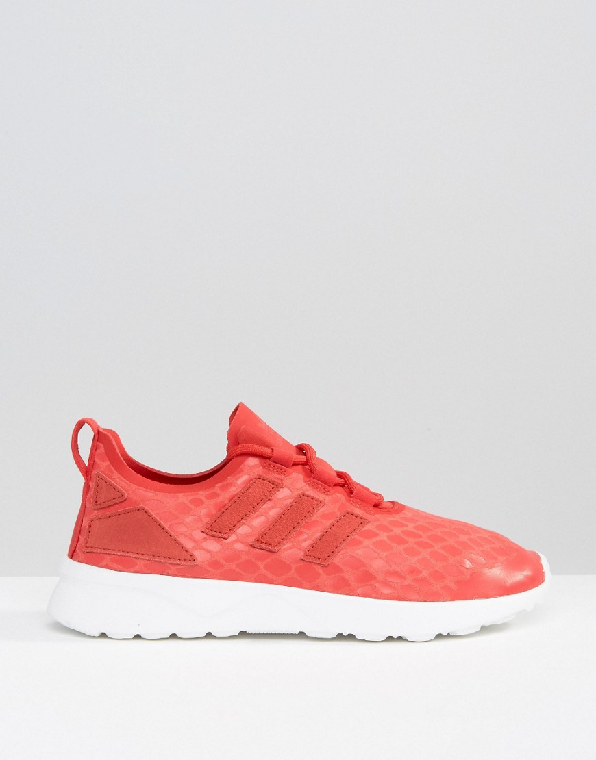 adidas Originals Leather Zx Flux Adv Verve Sneakers in Red