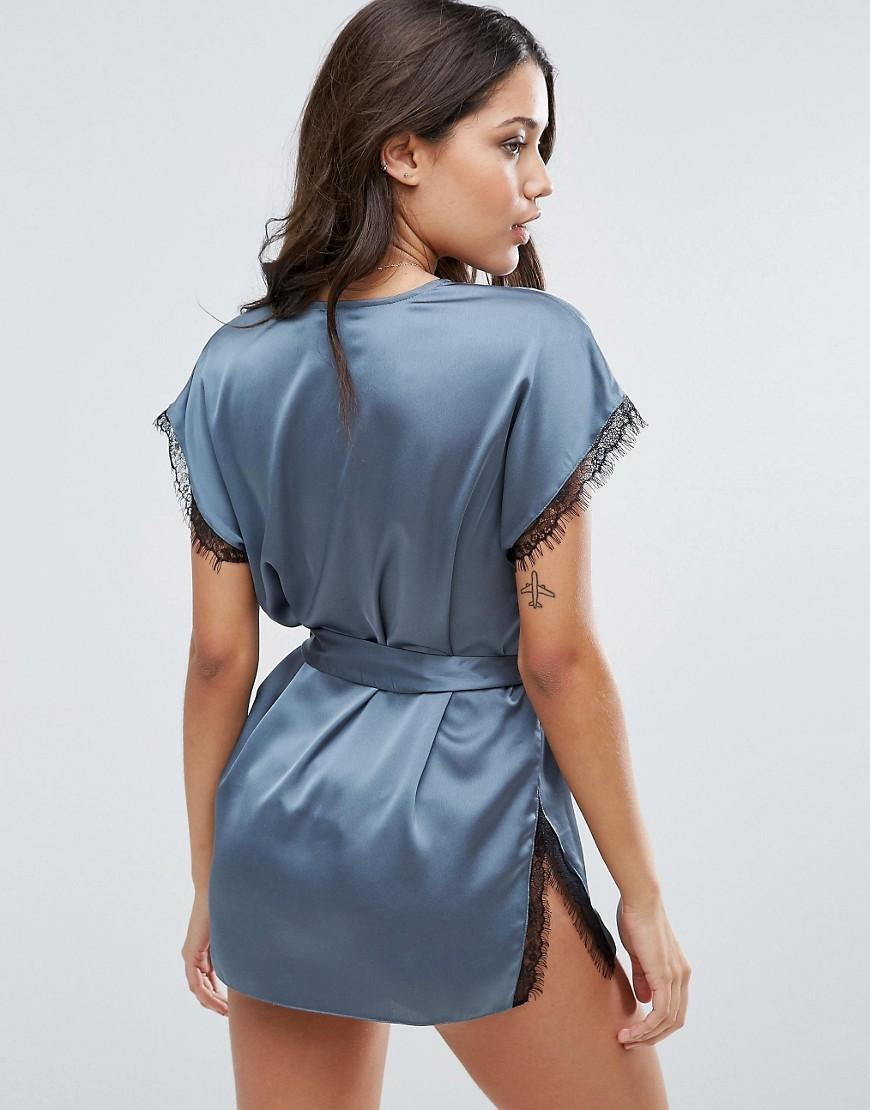 ASOS Lace Wrap Satin & Lace Mini Robe in Grey (Grey)