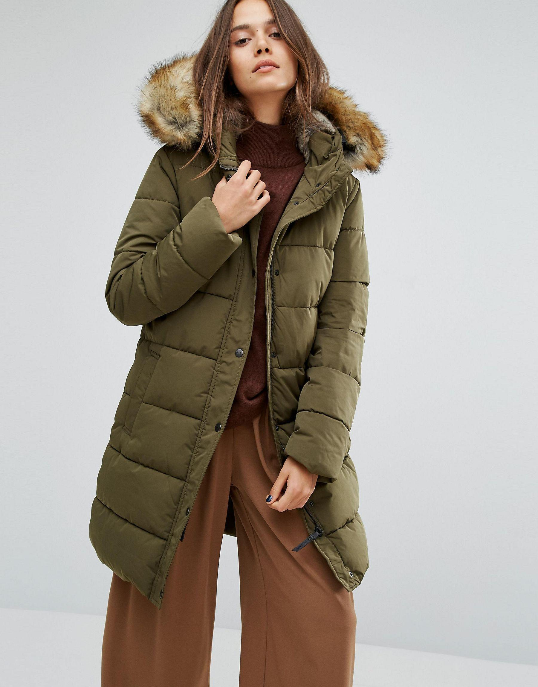 Parka london Thelma Long Padded Jacket With Faux Fur Lined Hood | Lyst