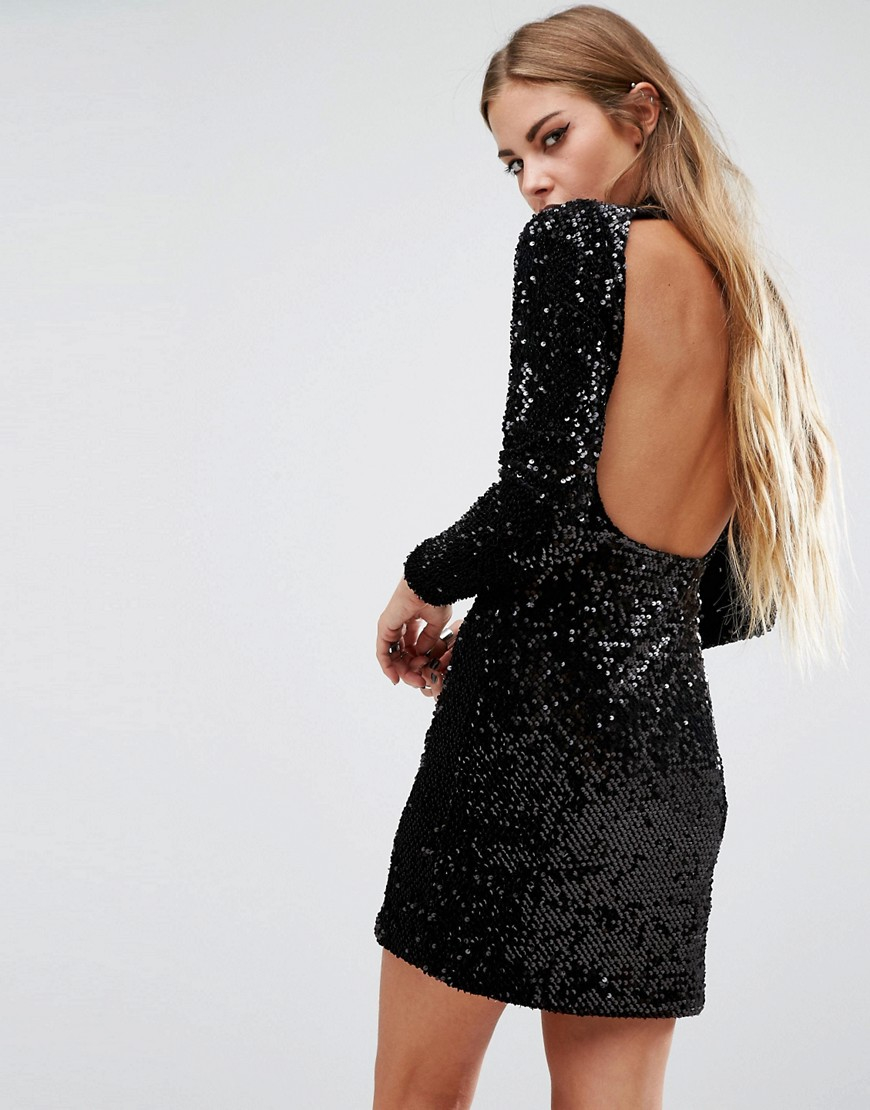 Motel Ruby Rose Backless Dress In Sequin in Black | Lyst
