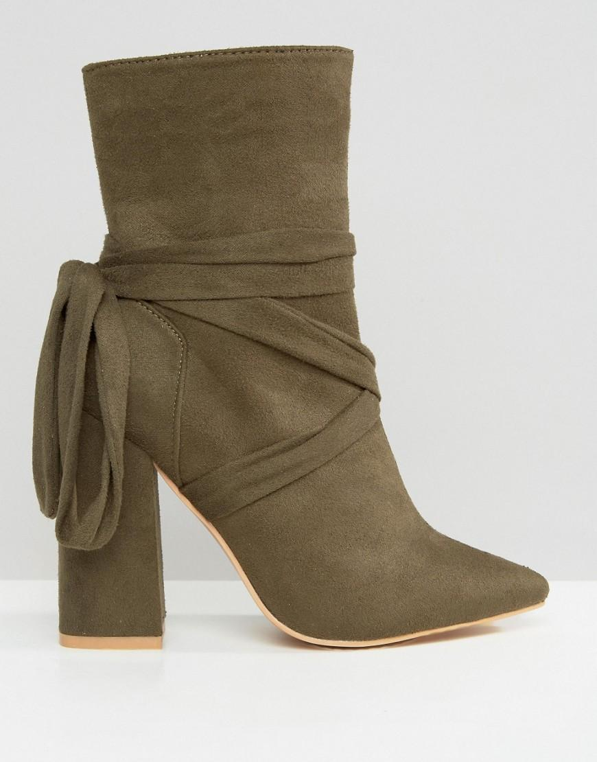 more photos 94519 def30 Lyst - Missguided Wrap Around Block Heel Ankle Boots in Gree