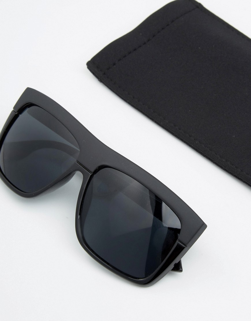 Pieces Flat Top Sunglasses In Black In Black Lyst