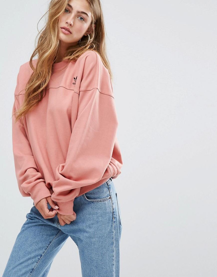 Adidas Originals Oversized Cotton Sweatshirt in Pink - Lyst