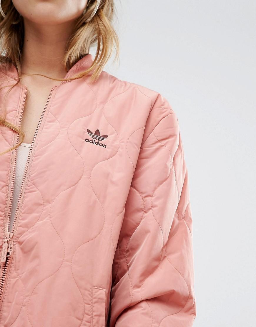 6320e0b5de0e Lyst - adidas Originals Originals Oversized Quilted Bomber Jacket in Pink