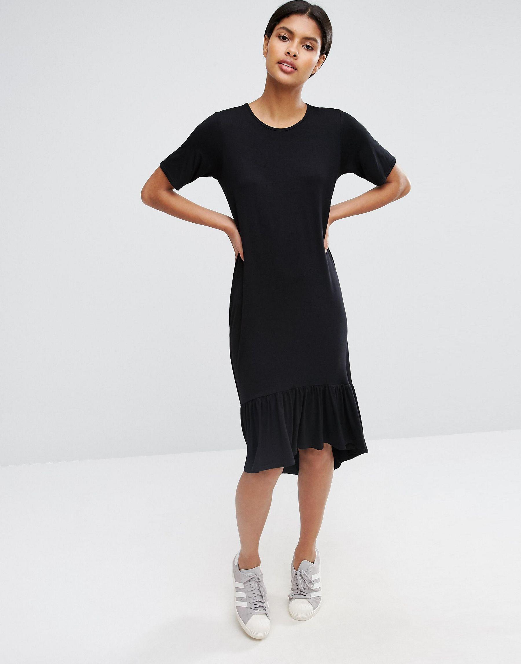 Asos frill hem midi t shirt dress in black lyst for Midi shirt dress black