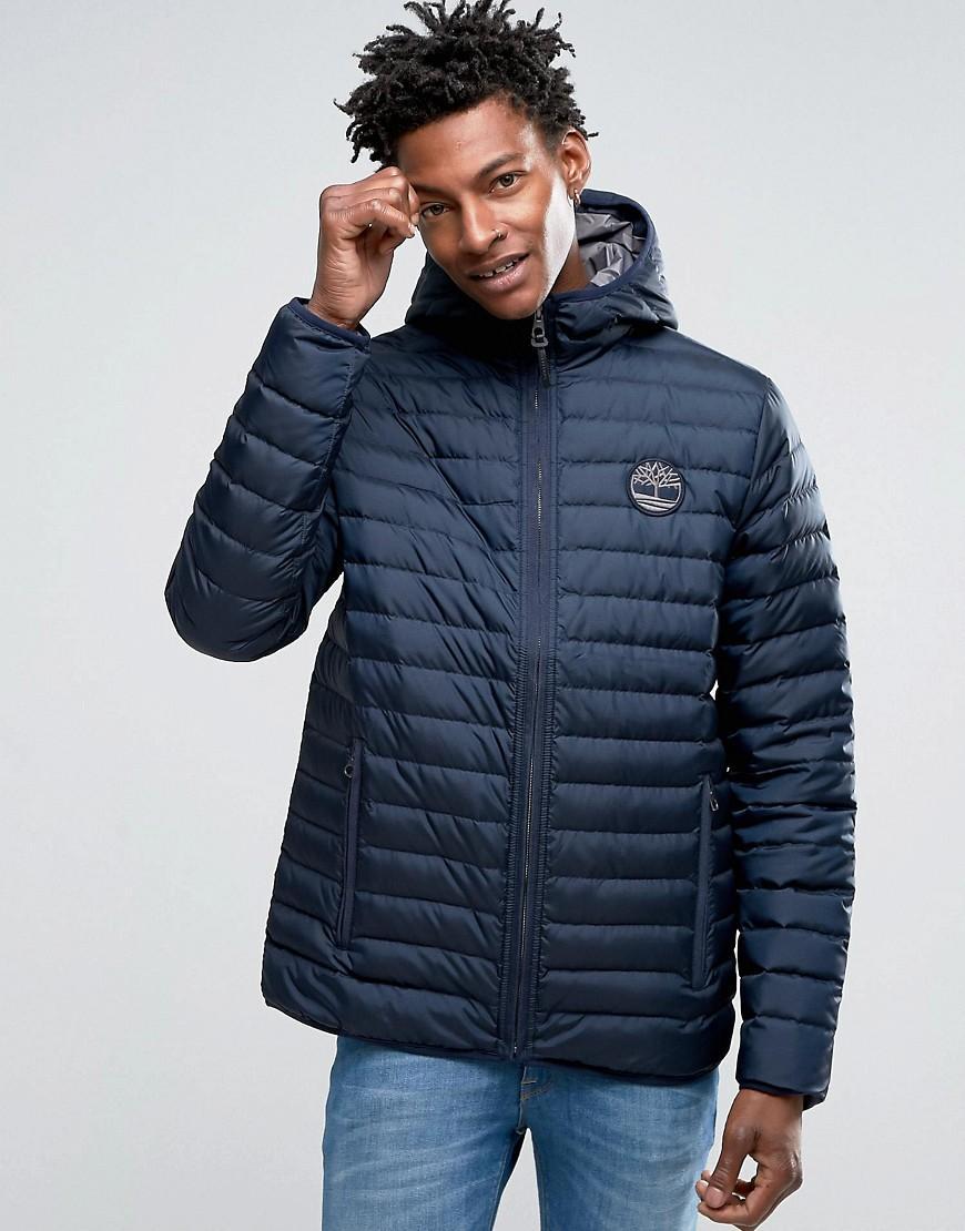 lyst timberland lightweight hooded down jacket in navy in blue for men. Black Bedroom Furniture Sets. Home Design Ideas