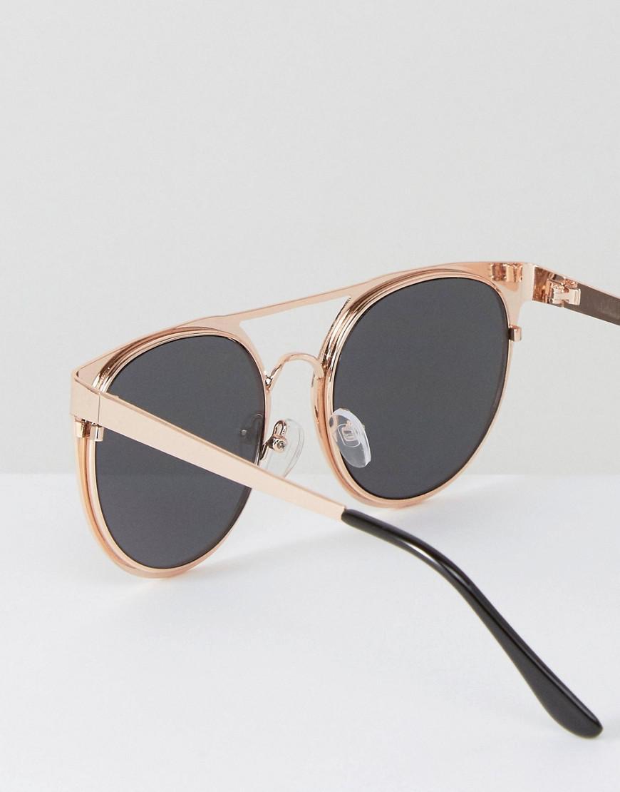 ASOS Denim Round Sunglasses In Rose Gold With Pink Mirror Lens in Metallic for Men
