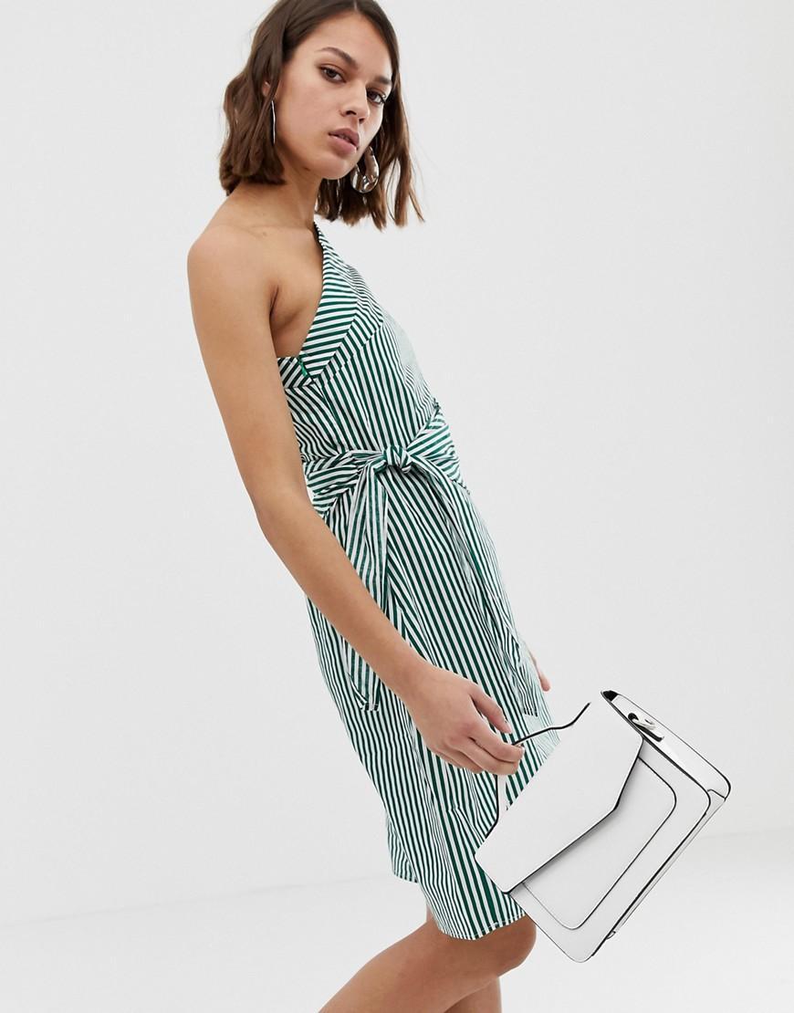 cb8087ba085af Lyst - UNIQUE21 One Shoulder Striped Dress in Blue