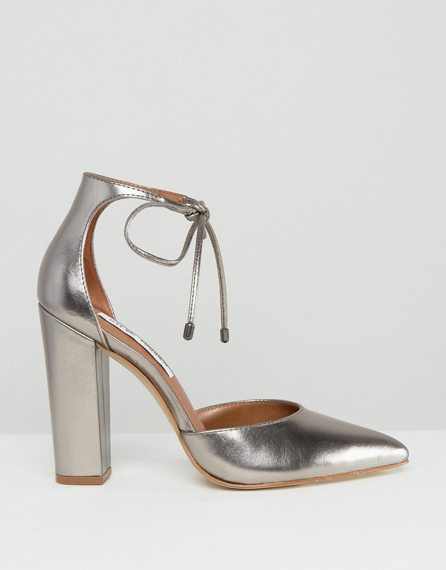 5e94f7154be Lyst - Steve Madden Pampered Pewter Heeled Shoes in Metallic