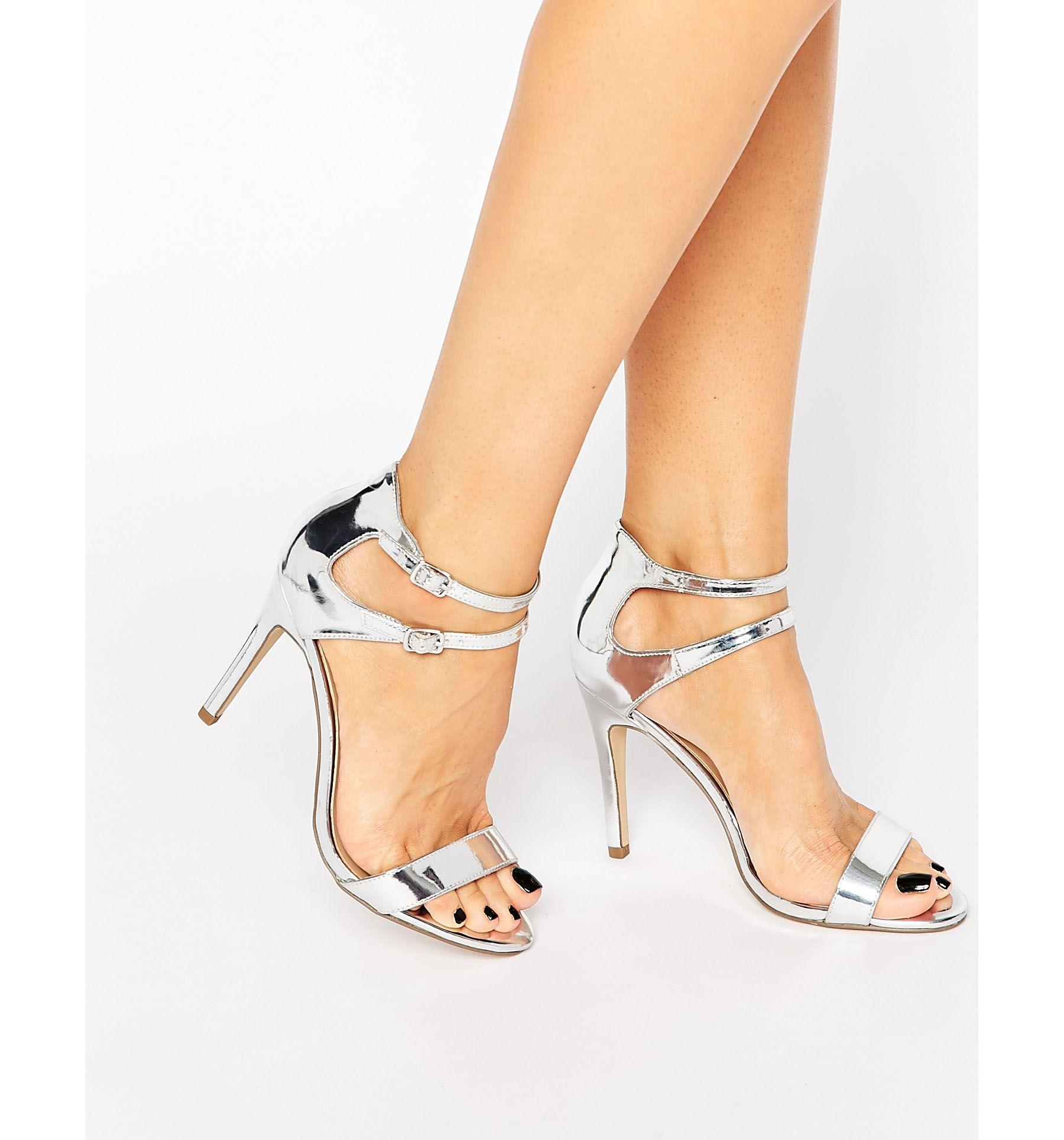 New look Strappy Metallic Heeled Sandal in Metallic