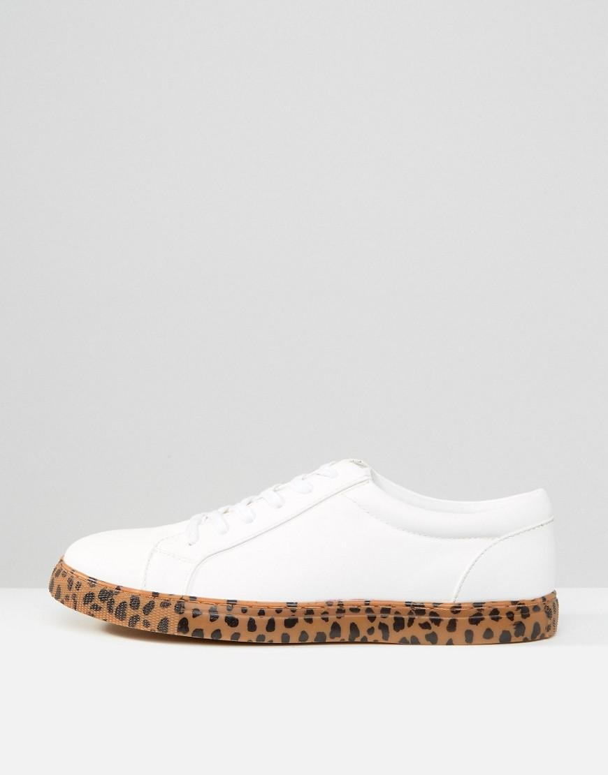 ASOS Leather Sneakers In White With Leopard Print Sole for Men