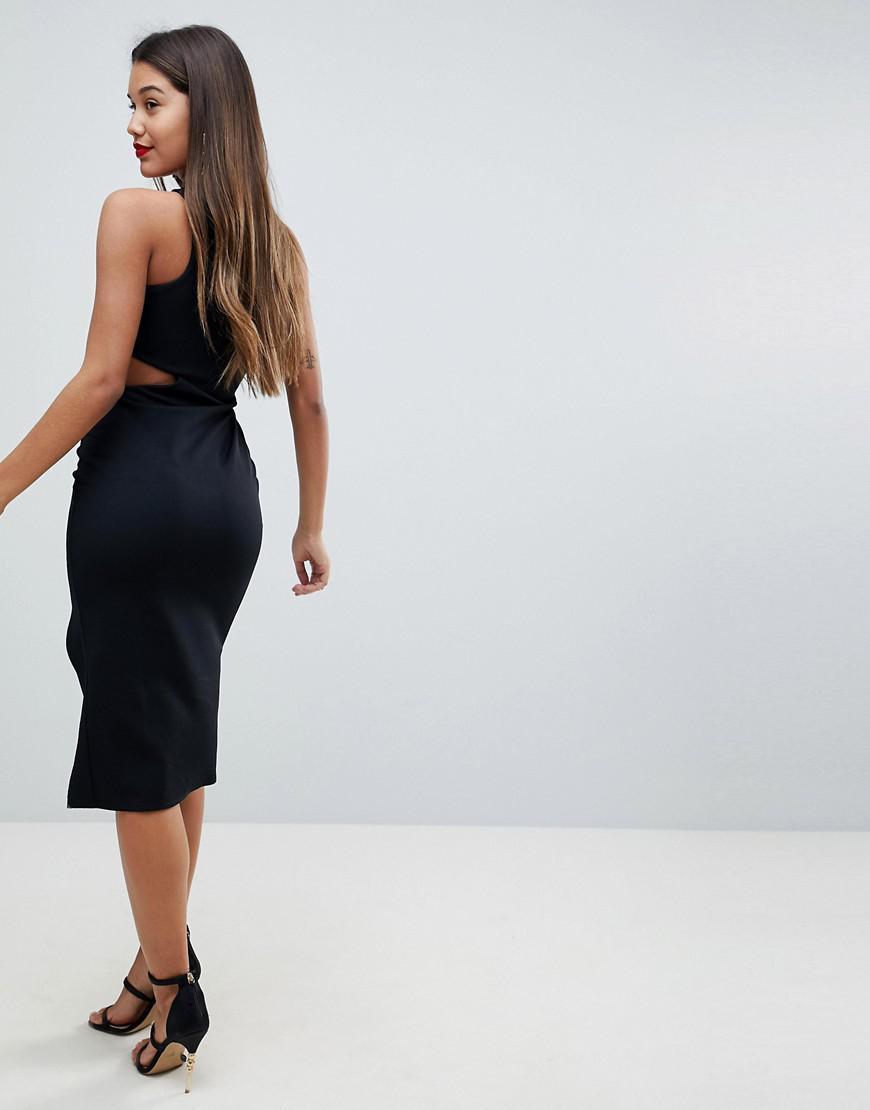 81208bcb ASOS Black Asos One Shoulder Asymmetric Side Cut Out Midi Dress