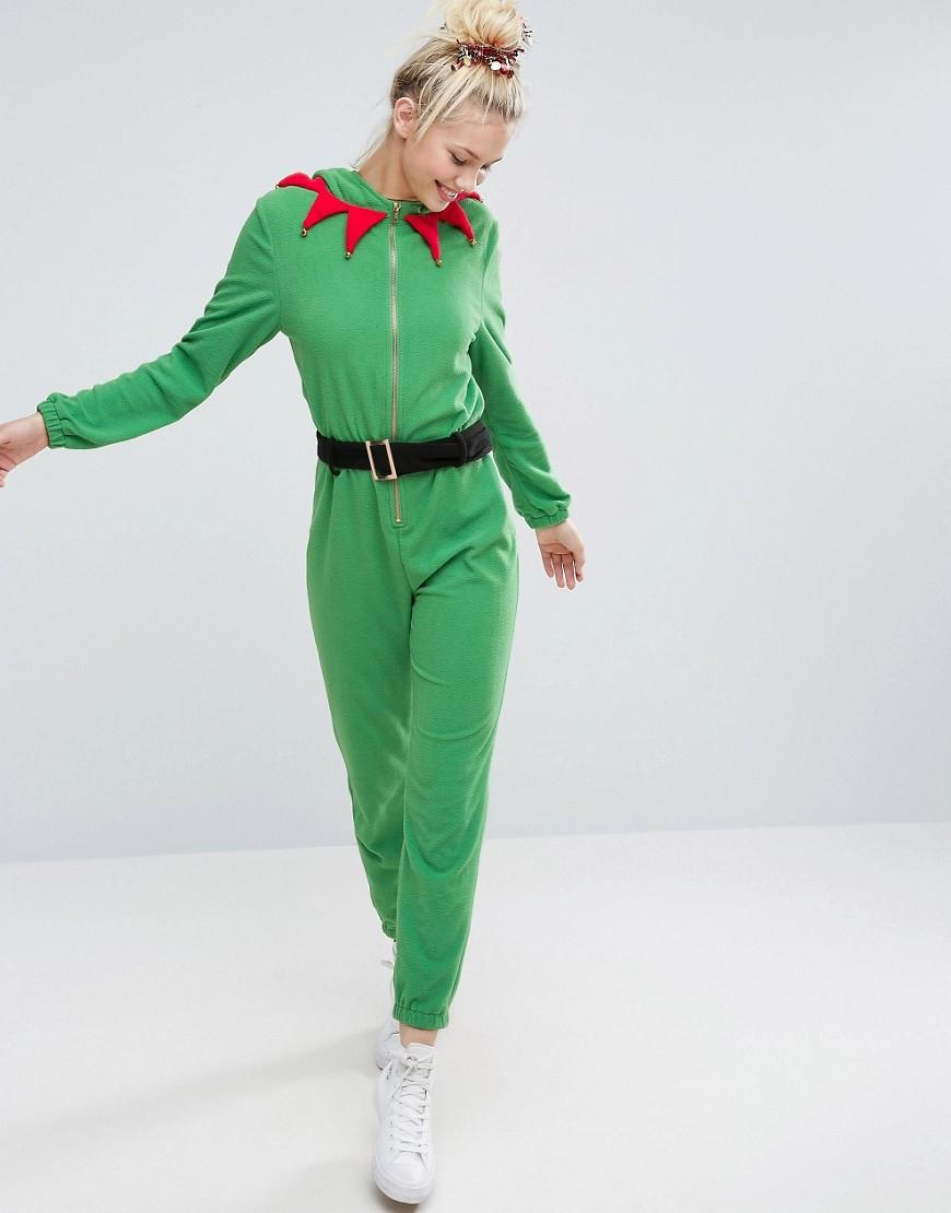 Asos Christmas Elf Onesie In Fleece In Green Lyst