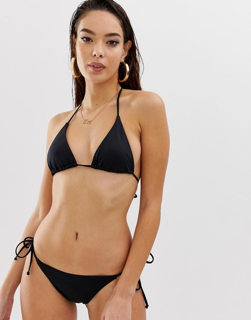 83fcceea0e4 Lyst - ASOS Recycled Mix And Match Sleek Triangle Bikini Top in Black
