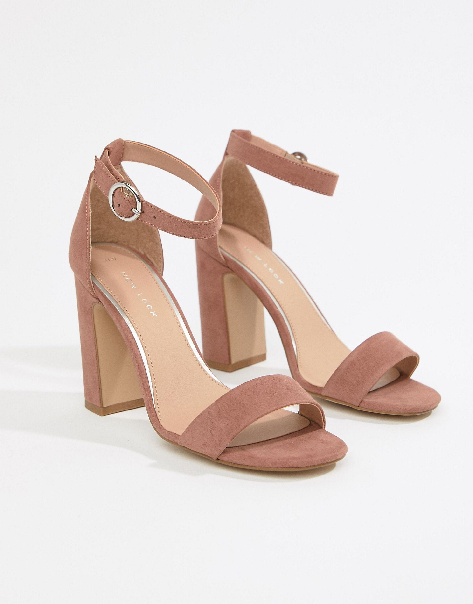 new look real suede barely there block heeled sandal
