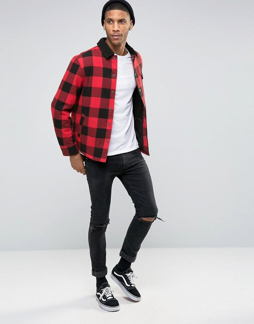 Esprit Cotton Quilted Check Jacket With Contrast Collar in Red for Men