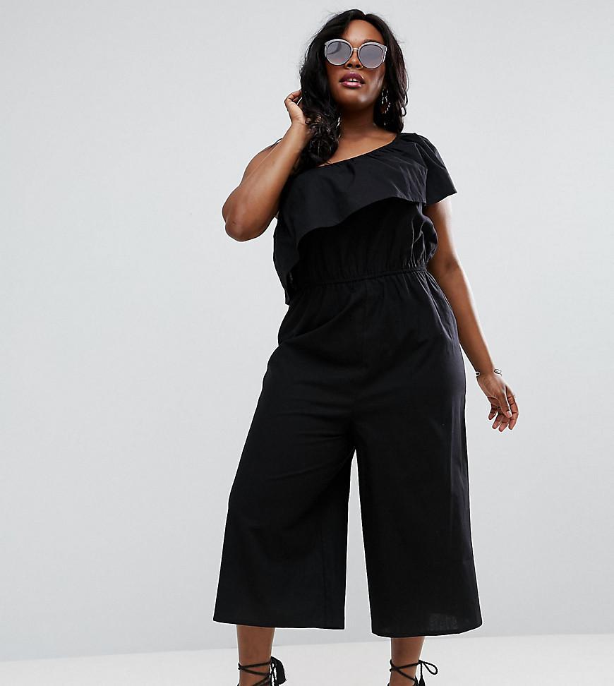 ASOS One Shoulder Jumpsuit In Cotton In Black