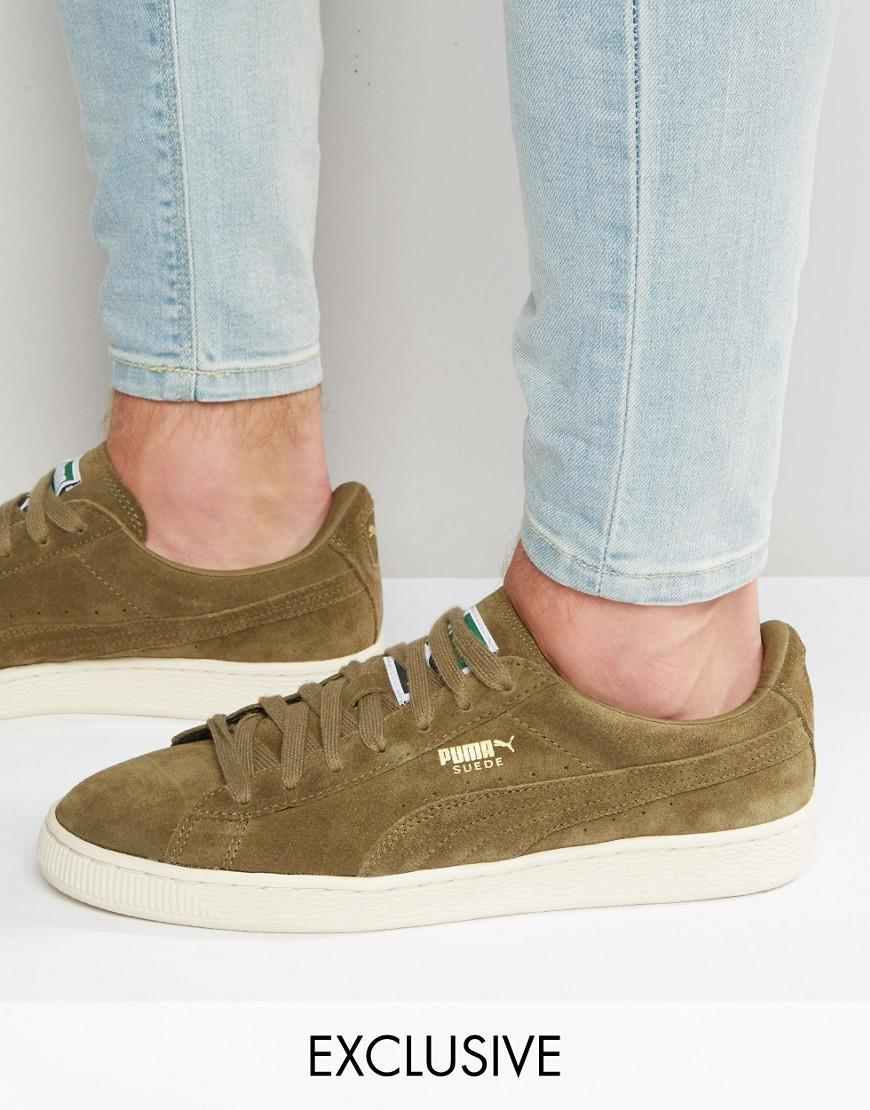 new concept get new huge selection of PUMA Suede Classic Trainers In Khaki Exclusive To Asos in Green ...