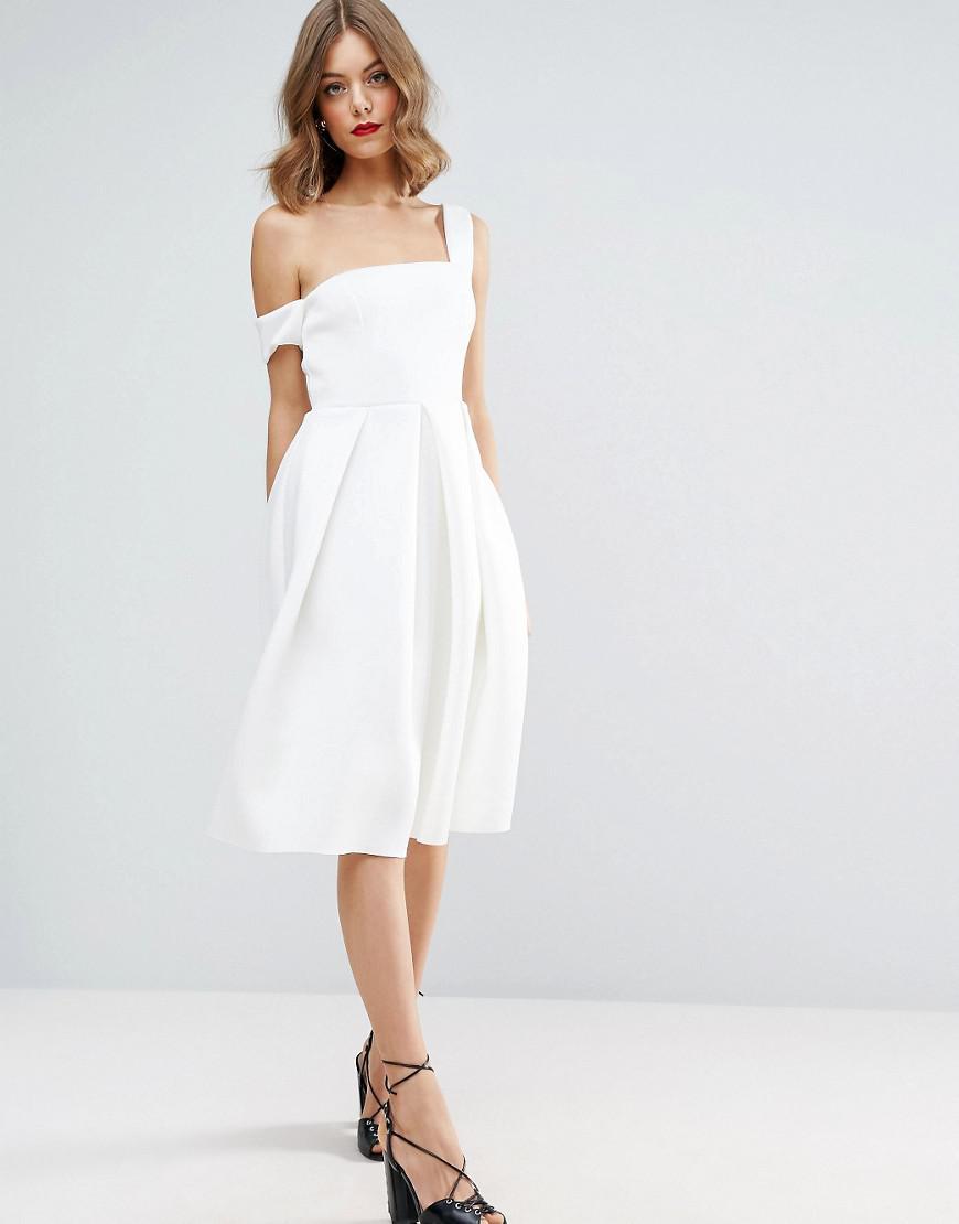 7128d6b5de3 Lyst - ASOS Scuba Asymmetric Midi Debutante Dress in White