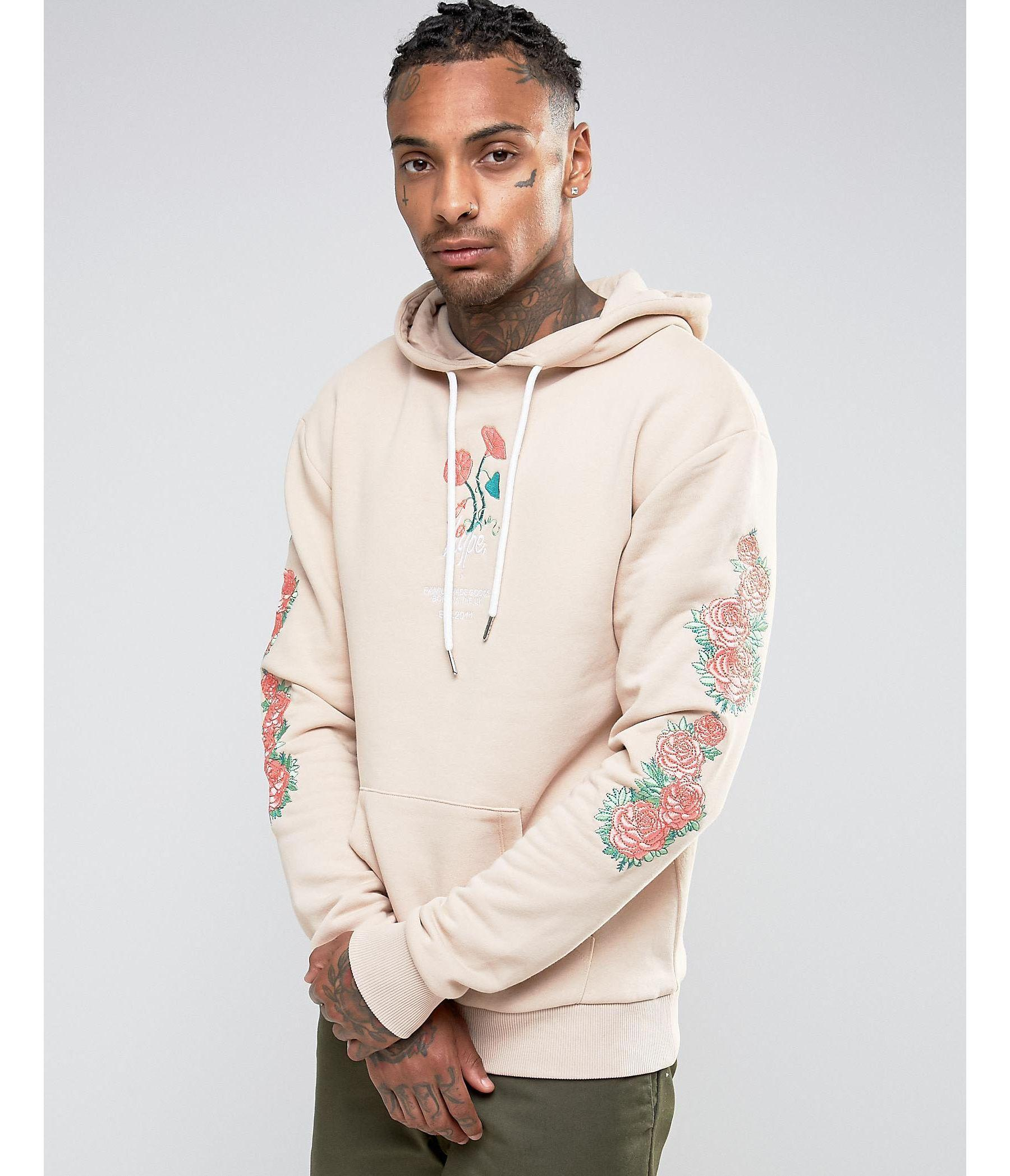 Hype hoodie with embroidered floral sleeves in natural for