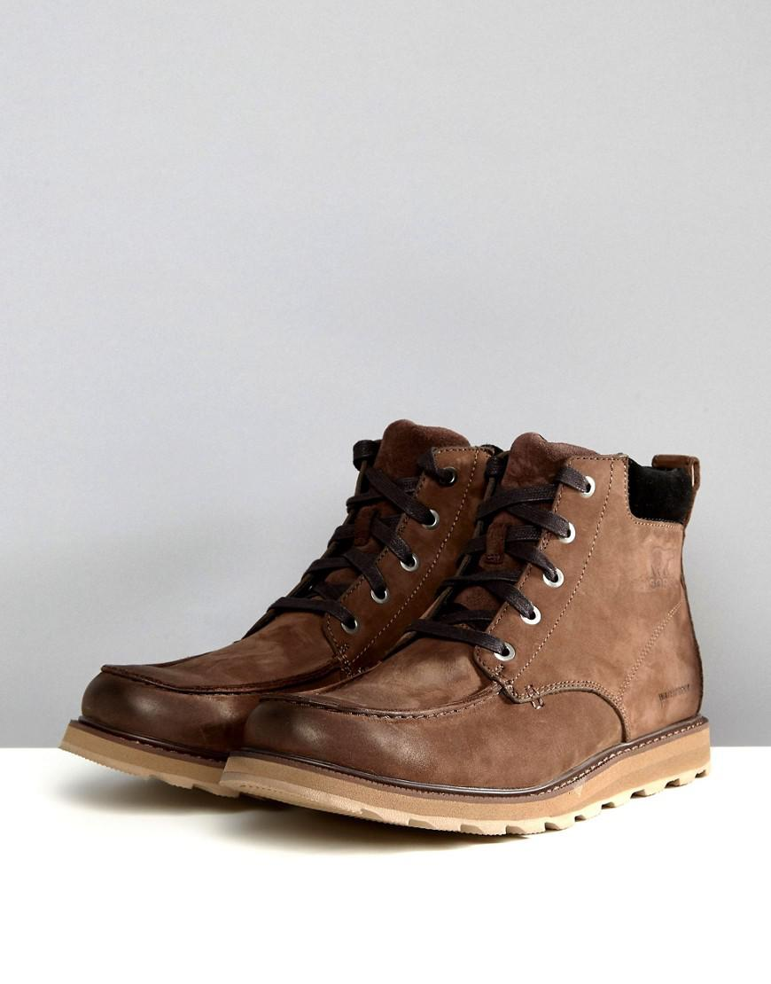 4dd19cea371 Sorel Brown Madson Moc Toe Waterproof Boots for men
