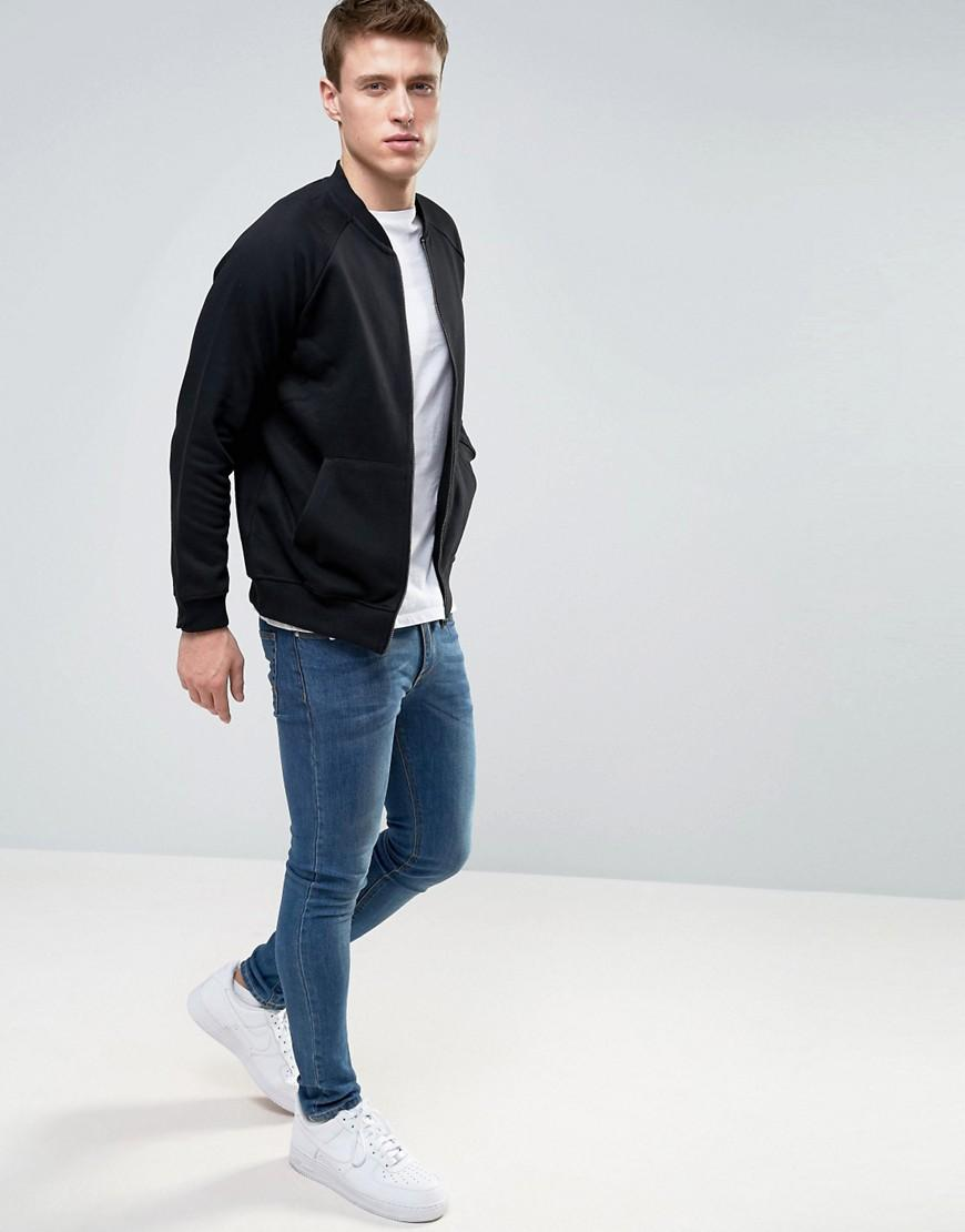 French Connection Cotton Jersey Bomber Jacket in Black for Men