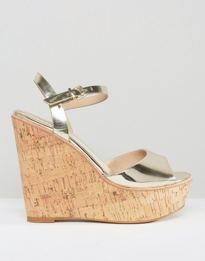 5784c641916 Aldo Aralinna Platform Wedge Sandals in Metallic - Lyst