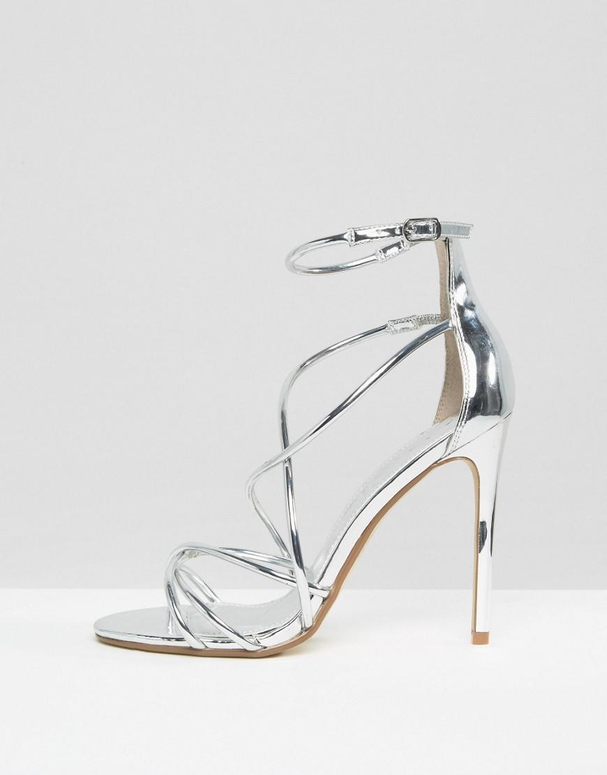 4ba342075b0 Office Metallic Spindle Silver Mirror Strappy Heeled Sandals