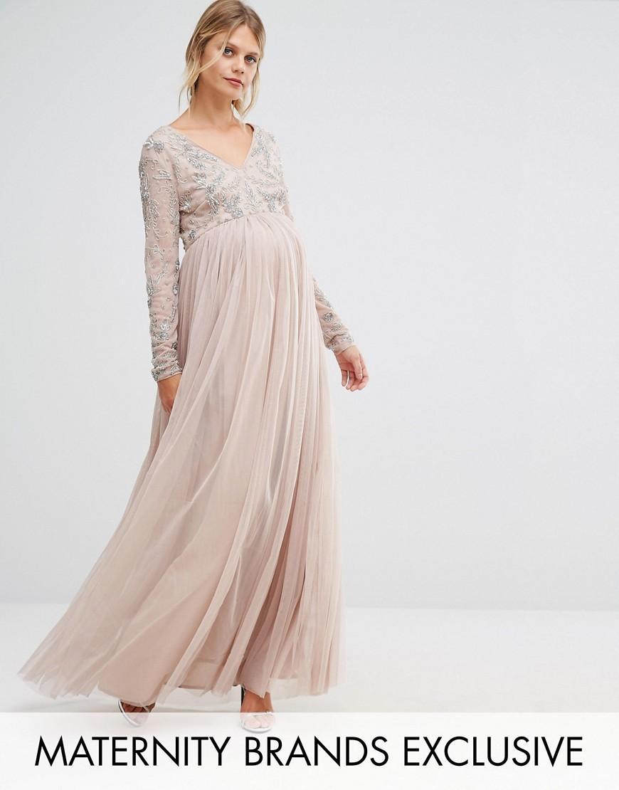 fca6b532e Maya Maternity Long Sleeve Embellished Bodice Maxi Dress With Tulle ...