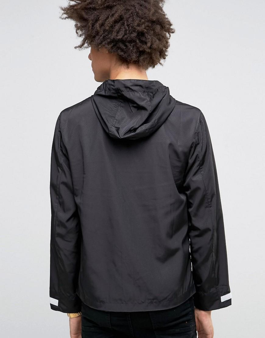 Love Moschino Synthetic Hooded Zip Thru Jacket With Logo in Black for Men
