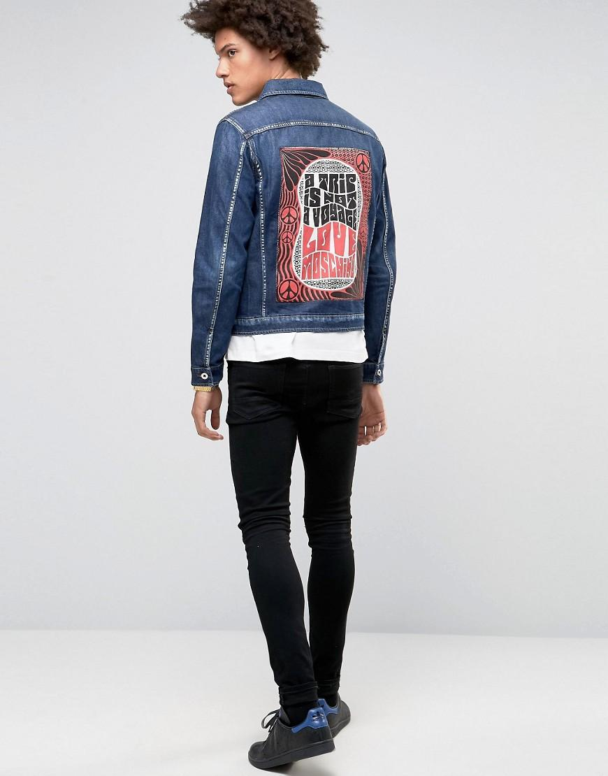 Love Moschino Denim Jacket With Back Print in Blue for Men