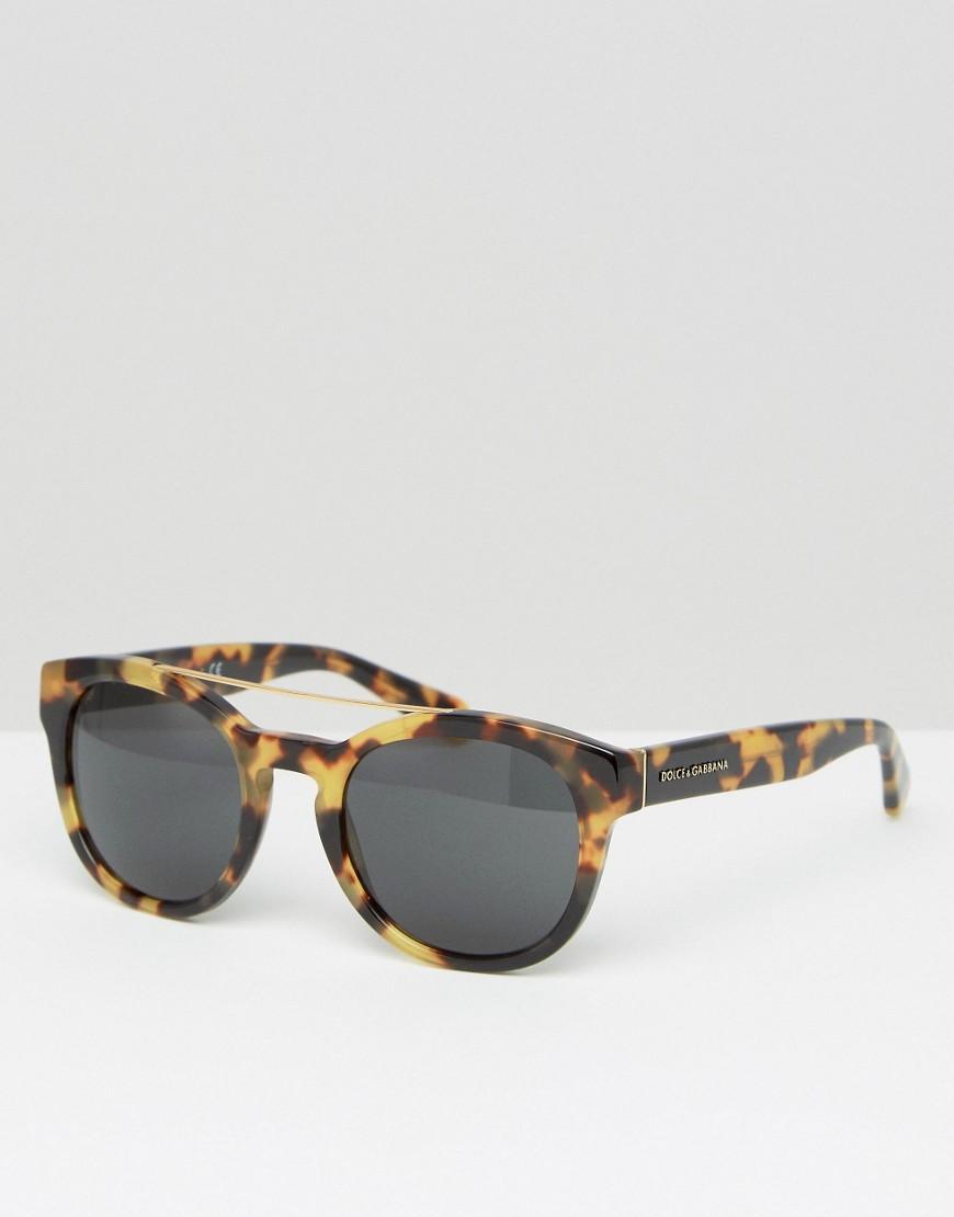 Lyst Dolce Amp Gabbana Round Sunglasses In Tortoiseshell In Brown For Men