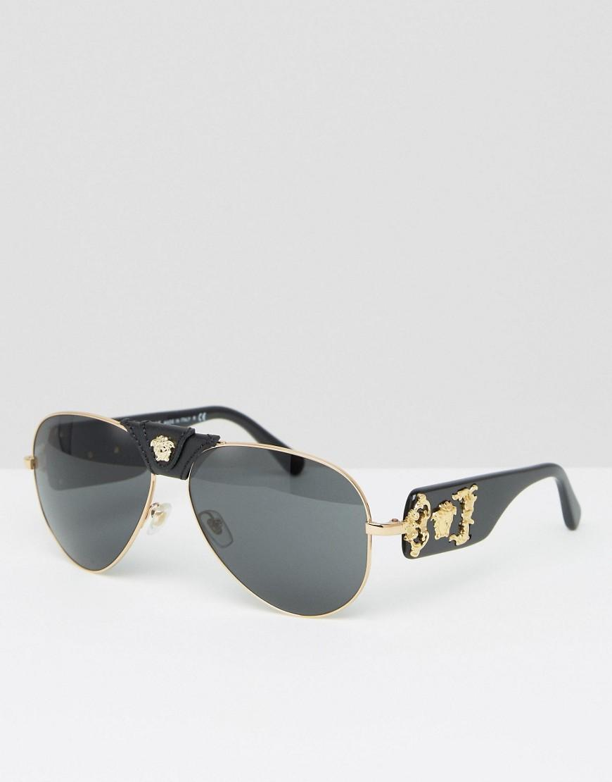 9cb4ce9a3fb4 Lyst - Versace Aviator Sunglasses With Removable Leather Medusa in ...