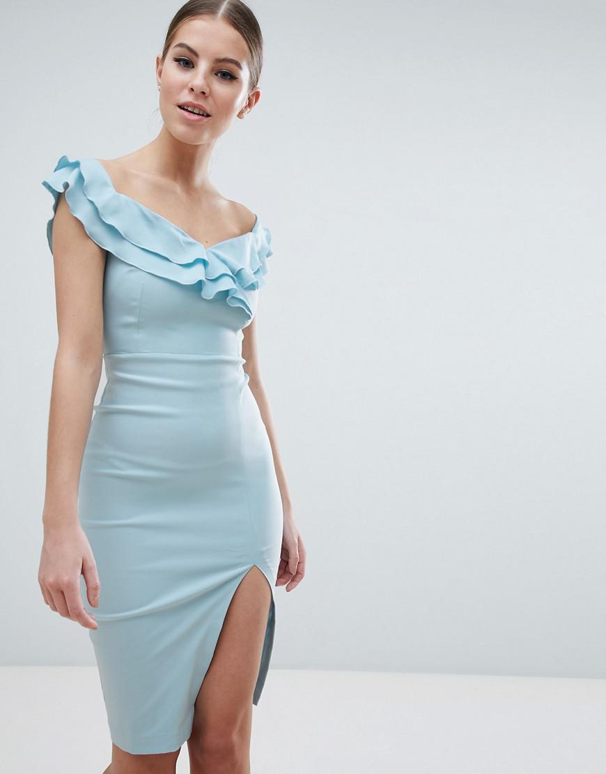 9b70253607 Vesper Sweetheart Plunge Midi Pencil Dress With Thigh Split in Blue ...