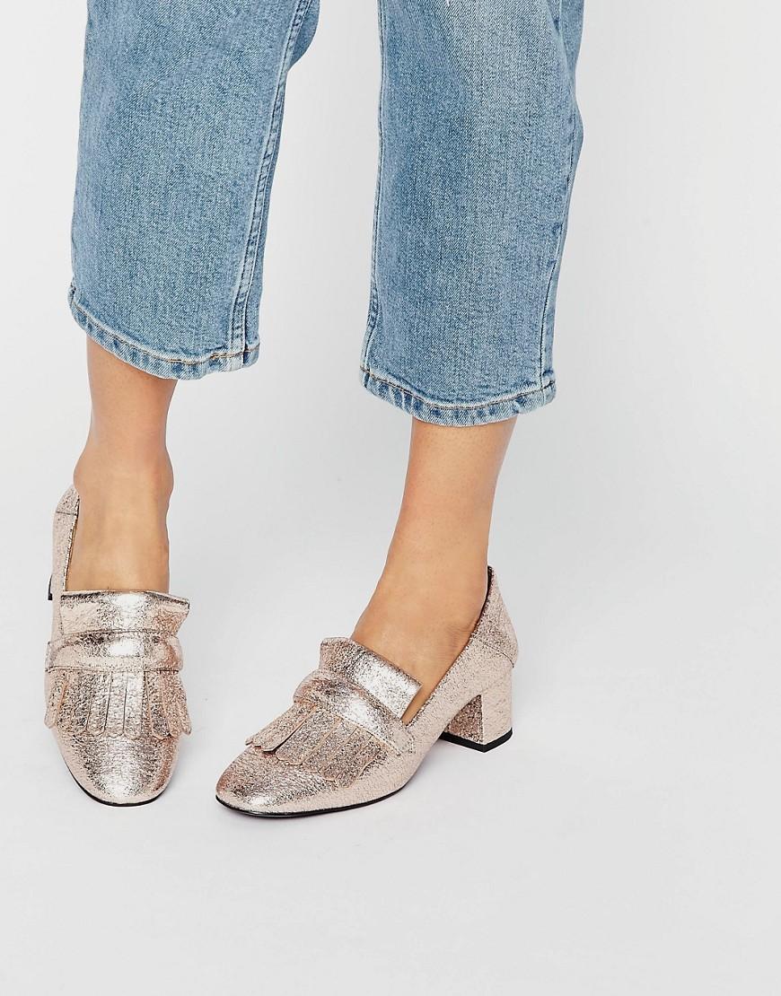 Metallic Mid Heel Loafers - Gold Mango CwfaS