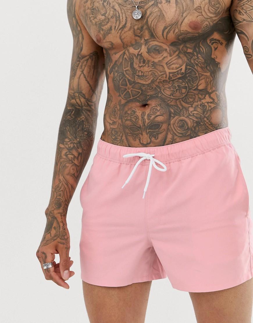 2e6fd153b607f ASOS Swim Shorts In Pink Short Length in Pink for Men - Lyst