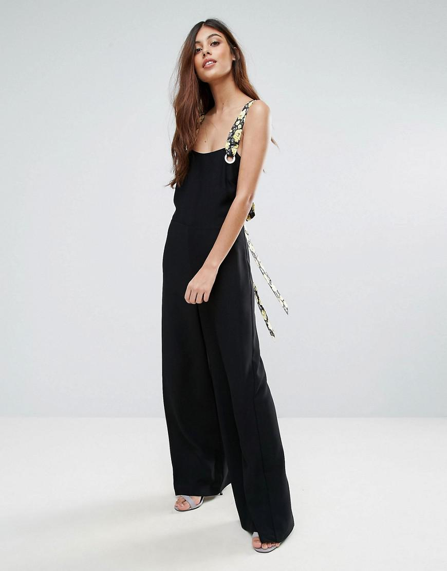 ae04a02d5b3 Warehouse Tie Shoulder Jumpsuit in Black - Lyst
