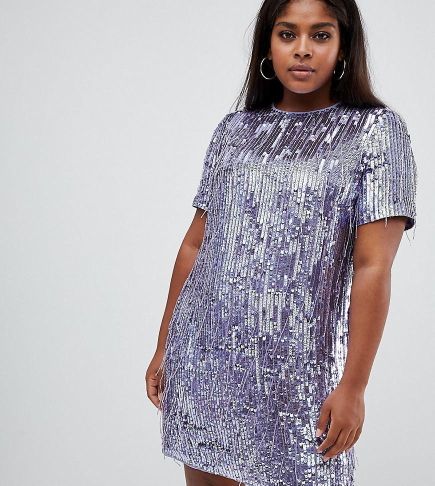 2d84ec7b ASOS. Women's Purple Asos Design Curve Mini Shift Dress In Heavily  Embellished Fringed Sequin