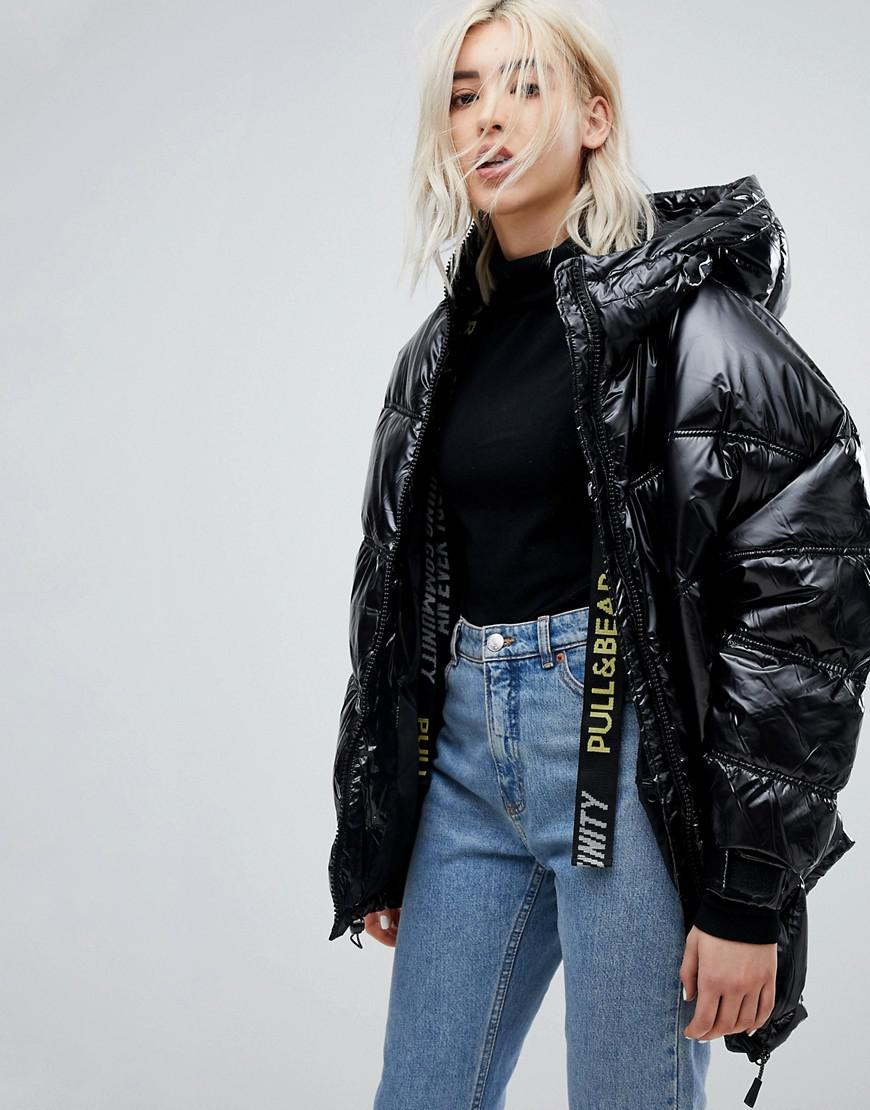 Pull&Bear Denim Black Puffer Ski Jacket - Lyst