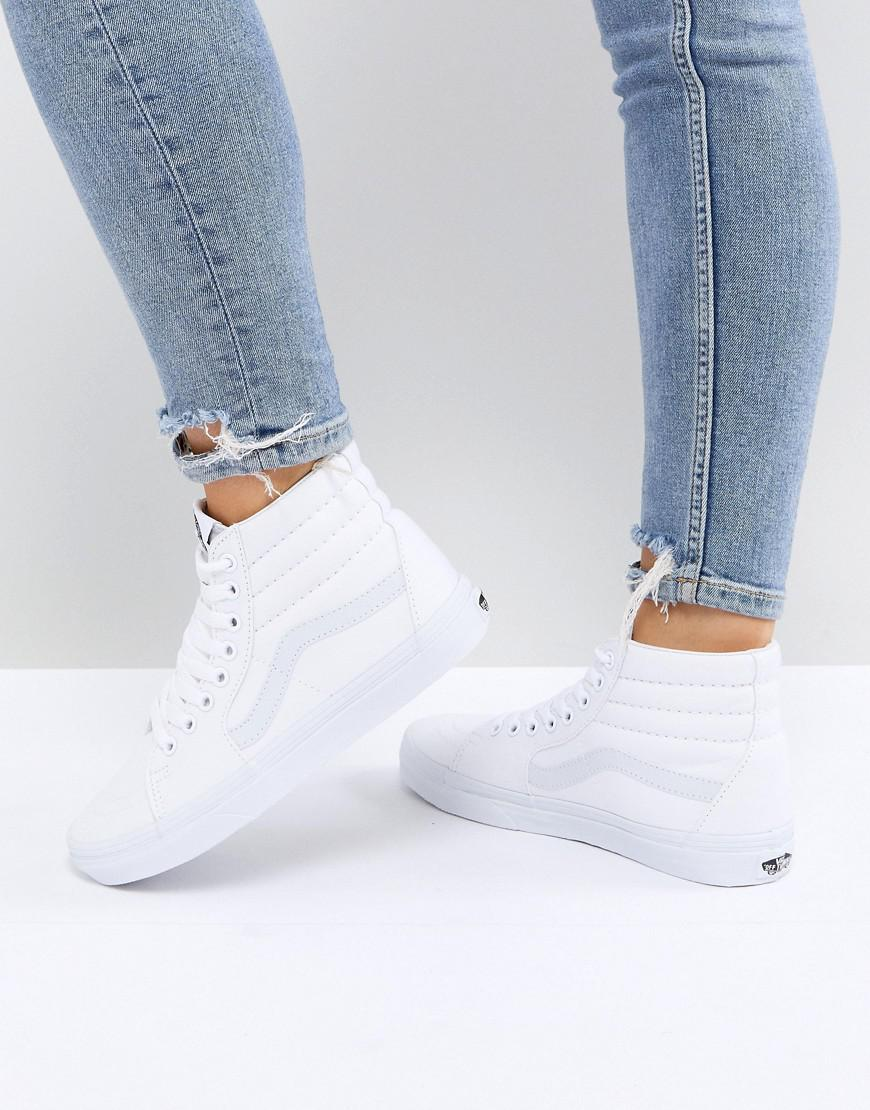 0565f59175 Vans Classic Sk8 Hi Trainers In All White in White - Lyst