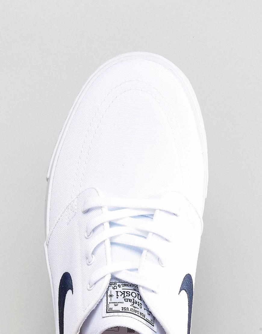Nike Zoom Stefan Janoski Canvas Trainers In White 615957-141 for Men