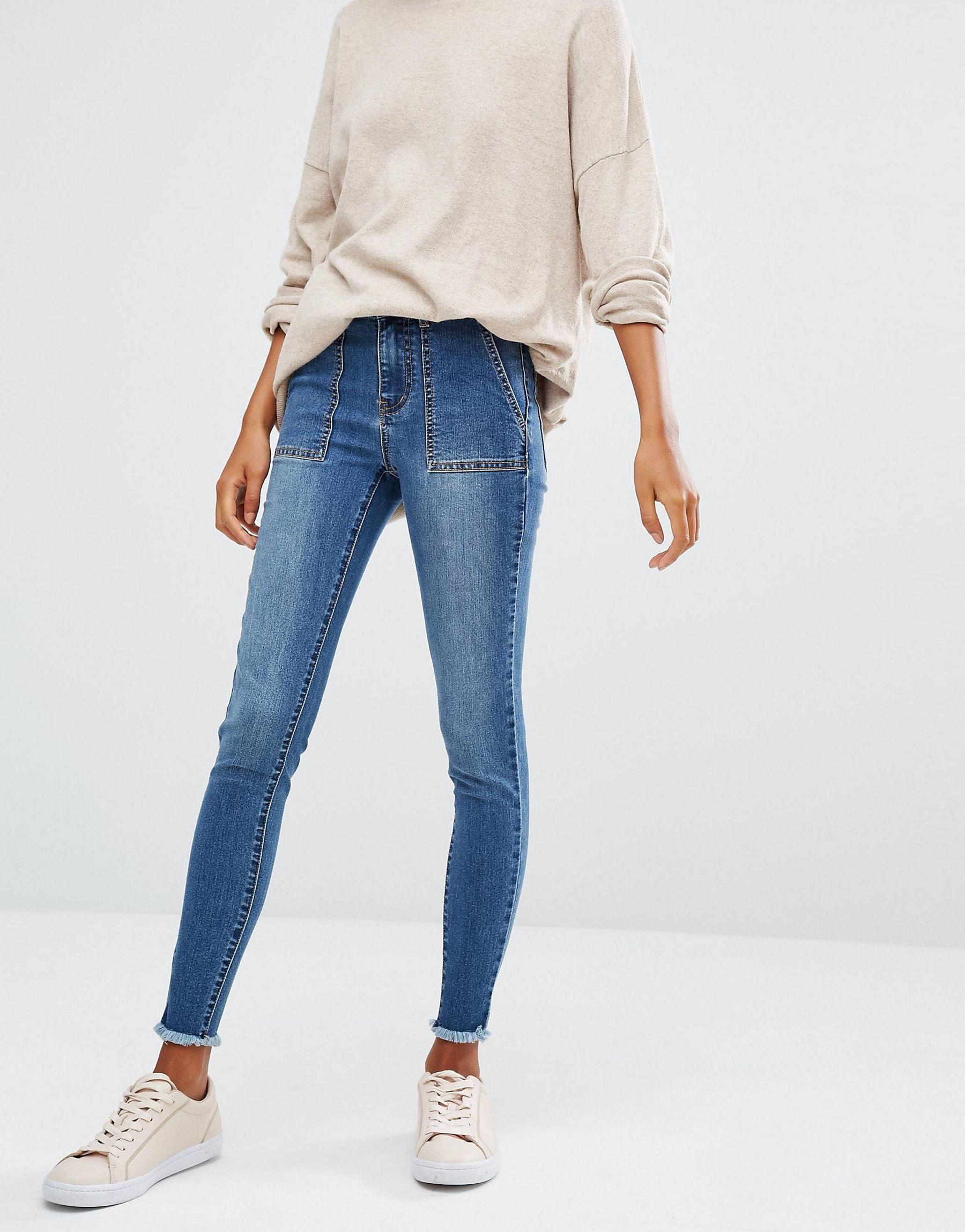 Lyst First Amp I Skinny Frayed Hem Jeans In Blue