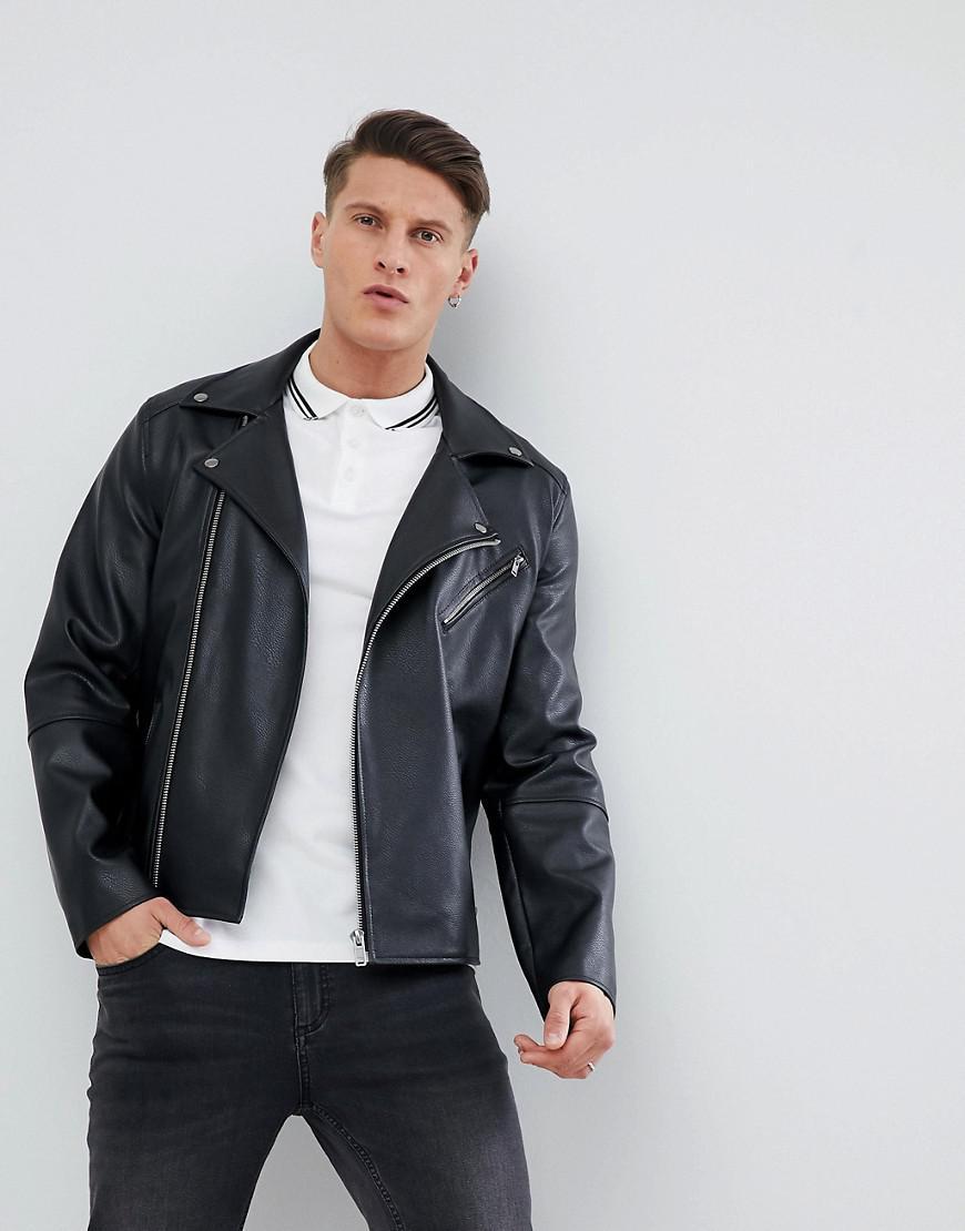 a26ab2895d7ca Lyst - ASOS Leather Look Biker Jacket In Black in Black for Men