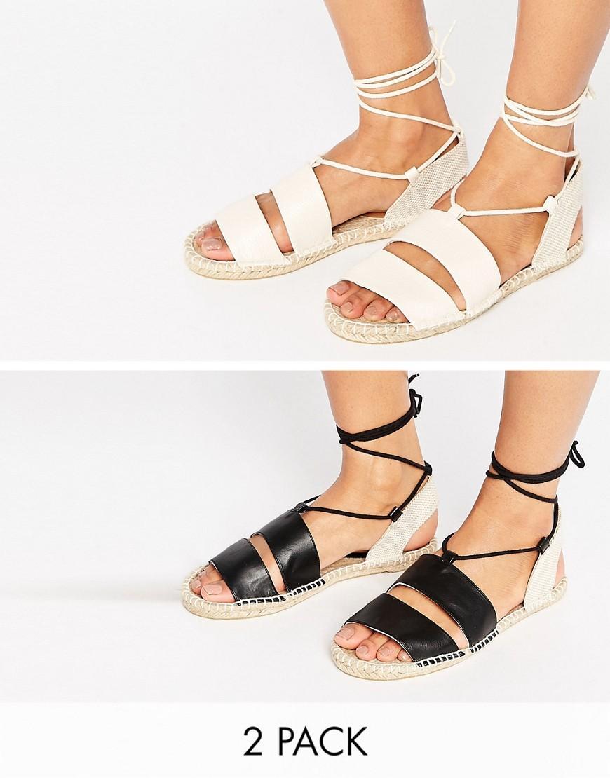 asos janica two pack sandal espadrilles in black lyst. Black Bedroom Furniture Sets. Home Design Ideas