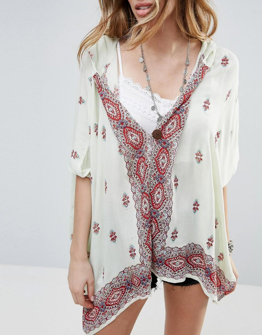 Raga Synthetic Endless Love Patterned Hooded Kimono in White