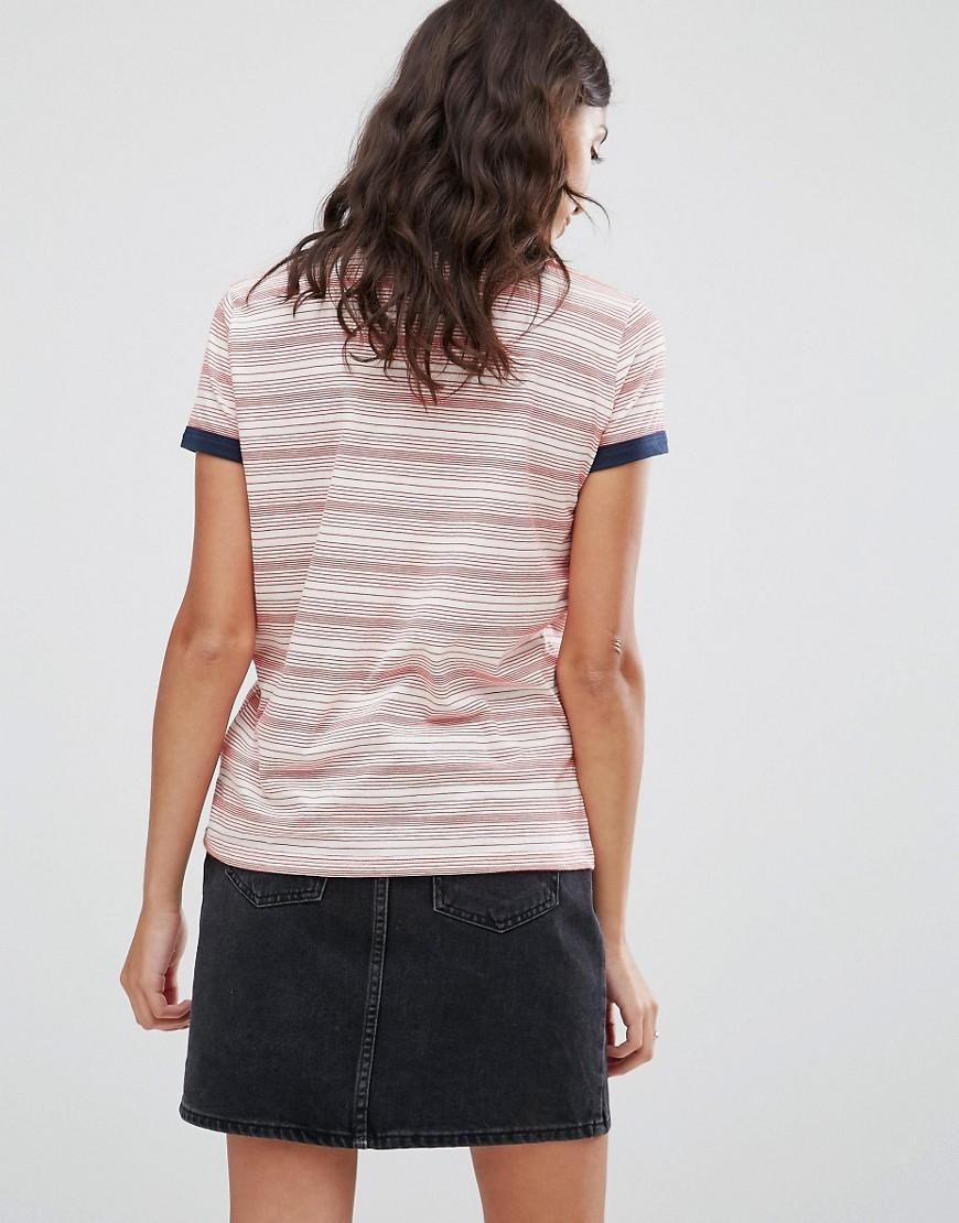 Pepe Jeans Denim Donna Striped Tee in Red