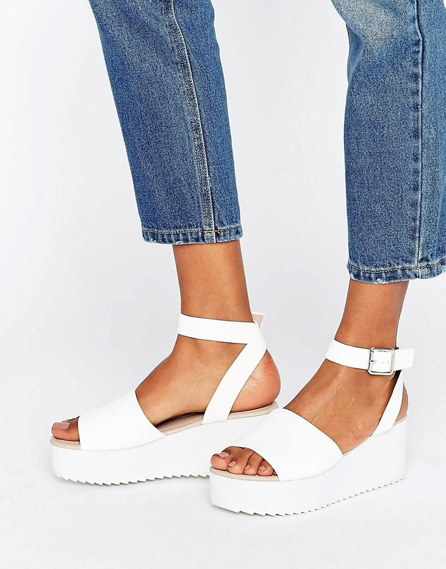 35e60036355 Lyst - ASOS Take Off Wedge Sandals in White